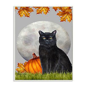 Stupell Industries  Black Cat and Full Moon Autumn Leaves Pumpkins, 13 x 19, Wood Wall Art, , large