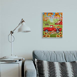 Stupell Industries  Welcome Red Farm Truck Autumn Leaves, 13 x 19, Wood Wall Art, , rollover