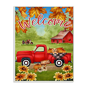 Stupell Industries  Welcome Red Farm Truck Autumn Leaves, 13 x 19, Wood Wall Art, , large