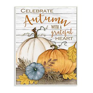 Stupell Industries  Celebrate Autumn Phrase Rustic Farm Harvest, 13 x 19, Wood Wall Art, , large
