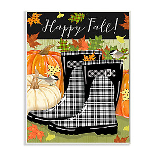Stupell Industries  Happy Fall Phrase Black Rainboots and Pumpkins, 13 x 19, Wood Wall Art, , large
