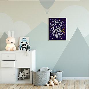Stupell Industries  Trick or Treat Halloween Phrase Spooky Skeleton, 13 x 19, Wood Wall Art, , rollover