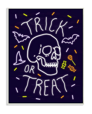 Stupell Industries  Trick or Treat Halloween Phrase Spooky Skeleton, 13 x 19, Wood Wall Art, , large
