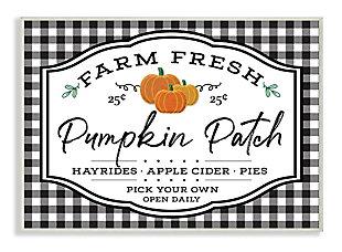 Stupell Industries  Farm Fresh Pumpkin Patch Sign Black Checkered Plaid, 13 x 19, Wood Wall Art, , large