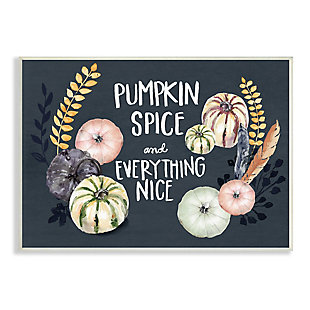 Stupell Industries  Pumpkin Spice Everything Nice Phrase Autumn Harvest Feathers, 13 x 19, Wood Wall Art, , large