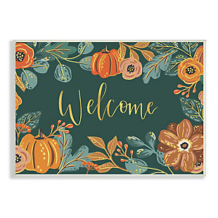 Stupell Industries  Pumpkin Floral Harvest Welcome Sign Green Orange, 13 x 19, Wood Wall Art, , large