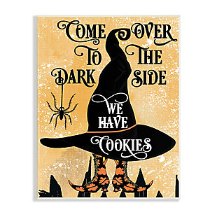 Stupell Industries  Dark Side Has Cookies Festive Halloween Witch Hat, 13 x 19, Wood Wall Art, , large