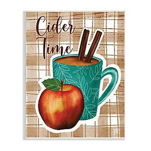 Stupell Industries  Warm Apple Cider Time Beverage Brown Farm Plaid , 13 x 19, Wood Wall Art, , large
