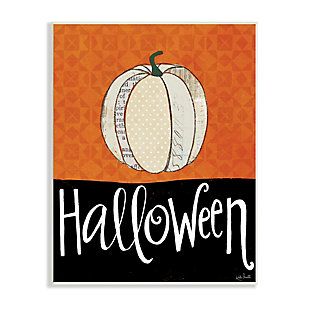 Stupell Industries  Halloween Festive Holiday Greeting Patterned Pumpkin Gourd, 13 x 19, Wood Wall Art, , large