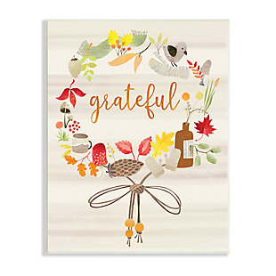 Stupell Industries  Grateful Acknowledgement Autumn Forest Foliage Wreath, 13 x 19, Wood Wall Art, , large