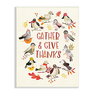 Stupell Industries  Gather Give Thanks Acknowledgement Adorable Autumn Birds, 13 x 19, Wood Wall Art, , large