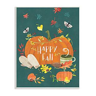 Stupell Industries  Happy Fall Greeting Plump Orange Pumpkin Festive Moths, 13 x 19, Wood Wall Art, , large