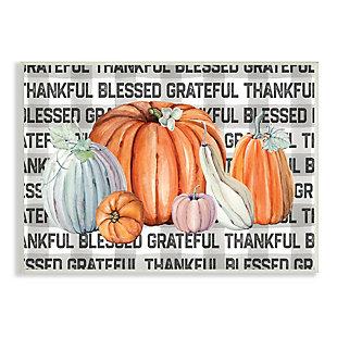 Stupell Industries  Thankful Grateful Blessed Typography Grey Plaid Farm Pumpkins, 13 x 19, Wood Wall Art, , large