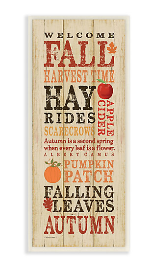 Stupell Industries  Welcome Fall Autumn Wood Texture Seasonal Word Design, 7 x 17, Wood Wall Art, , large