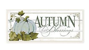 Stupell Industries  Autumn Blessings Blue Pumpkin Fall Seasonal Word Design, 7 x 17, Wood Wall Art, , large