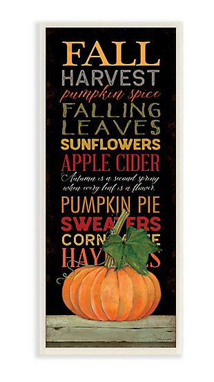 Stupell Industries  Fall Harvest Autumn Seasonal Word Design, 7 x 17, Wood Wall Art, , large