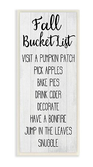 Stupell Industries  Fall Bucket List Sign Harvest Goals Autumn Activities, 7 x 17, Wood Wall Art, , large