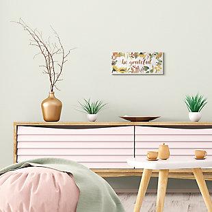 Stupell Industries  Be Grateful Phrase Autumn Sunflower Floral Border, 7 x 17, Wood Wall Art, , rollover