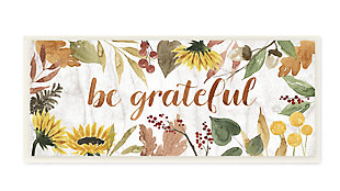 Stupell Industries  Be Grateful Phrase Autumn Sunflower Floral Border, 7 x 17, Wood Wall Art, , large