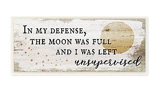 Stupell Industries  Full Moon Unsupervised Phrase Rustic Halloween Charm, 7 x 17, Wood Wall Art, , large