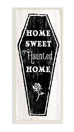 Stupell Industries  Home Sweet Haunted Home Halloween Rose Casket, 7 x 17, Wood Wall Art, , large