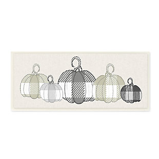 Stupell Industries  Checker Plaid Patterned Pumpkins in a Row, 7 x 17, Wood Wall Art, , large