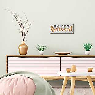Stupell Industries  Happy Harvest Phrase Distressed Autumn Plaid, 7 x 17, Wood Wall Art, , rollover