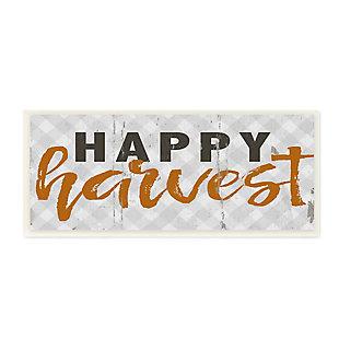 Stupell Industries  Happy Harvest Phrase Distressed Autumn Plaid, 7 x 17, Wood Wall Art, , large