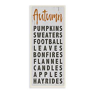 Stupell Industries  Autumn Favorites List Charming Distressed Design, 7 x 17, Wood Wall Art, , large