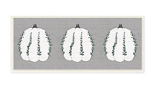 Stupell Industries  Trio of Eucalyptus Pumpkins over Grey, 7 x 17, Wood Wall Art, , large