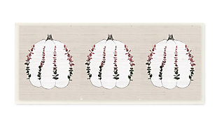 Stupell Industries  Harvest Pumpkin Trio Eucalyptus over Beige, 7 x 17, Wood Wall Art, , large
