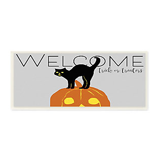 Stupell Industries  Welcome Trick Or Treaters Halloween Cat Pumpkin, 7 x 17, Wood Wall Art, , large