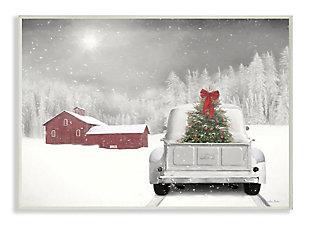 Stupell Industries  Christmas Tree at Twilight Snowy Holiday Scene Wood Wall Art, Gray, large
