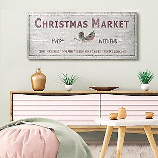Stupell Industries  Rustic Christmas Market Sign Holiday Activity List Canvas Wall Art, Off White, rollover