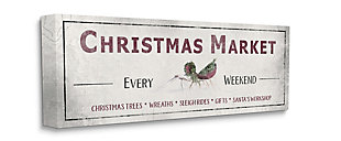 Stupell Industries  Rustic Christmas Market Sign Holiday Activity List Canvas Wall Art, Off White, large