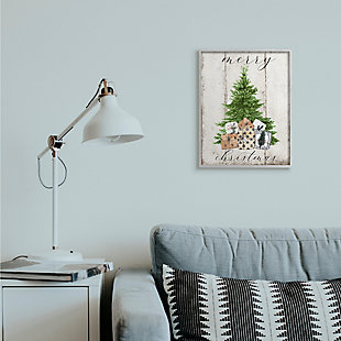 Stupell Industries  Rustic Distressed Merry Christmas Tree Illustration Framed Wall Art, Off White, rollover