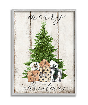 Stupell Industries  Rustic Distressed Merry Christmas Tree Illustration Framed Wall Art, Off White, large