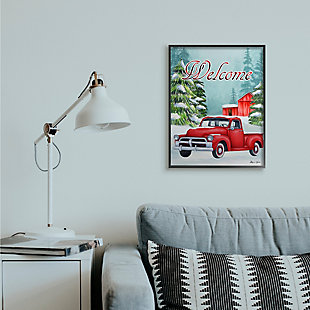 Stupell Industries  Winter Welcome Sign Red Truck Snow Barn Framed Wall Art, Blue, rollover