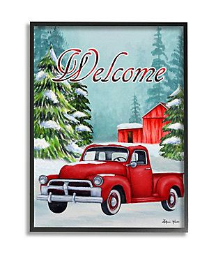 Stupell Industries  Winter Welcome Sign Red Truck Snow Barn Framed Wall Art, Blue, large