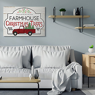Stupell Industries  Rustic Farmhouse Christmas Tree Vintage Sign Canvas Wall Art, Off White, rollover