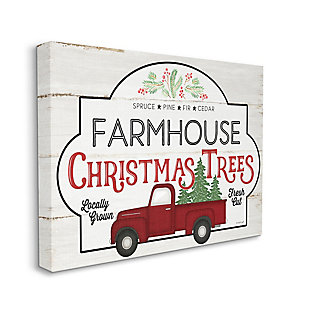 Stupell Industries  Rustic Farmhouse Christmas Tree Vintage Sign Canvas Wall Art, Off White, large