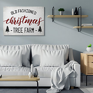 Stupell Industries  Red Christmas Rustic Tree Farm Sign Canvas Wall Art, White, rollover