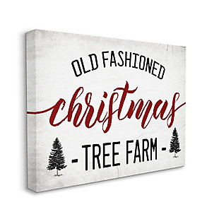 Stupell Industries  Red Christmas Rustic Tree Farm Sign Canvas Wall Art, White, large