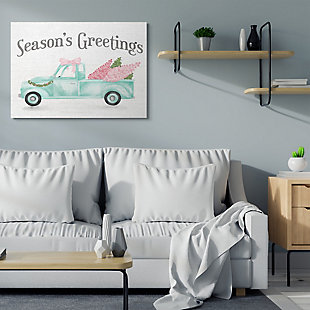 Stupell Industries  Pink Turquoise Christmas Season's Greetings Truck Canvas Wall Art, White, rollover