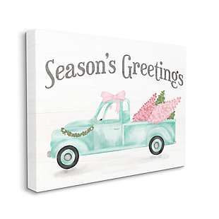 Stupell Industries  Pink Turquoise Christmas Season's Greetings Truck Canvas Wall Art, White, large