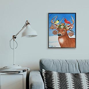 Stupell Industries  Winter Reindeer Antler Ornaments with Birds Framed Wall Art, Multi, rollover