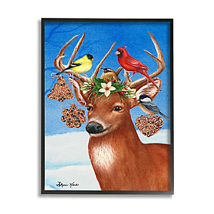 Stupell Industries  Winter Reindeer Antler Ornaments with Birds Framed Wall Art, Multi, large