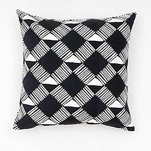 freshmint Trellis Geo Outdoor Pillow, Black Beauty, large