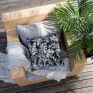 freshmint Tamani Palm Outdoor Pillow, Black Beauty, rollover