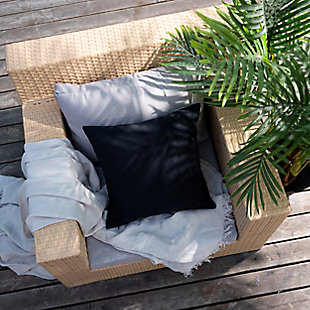 freshmint Tristin Solids Outdoor Pillow, Black Beauty, rollover